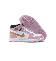 Women Jordan 1 2021 Pink White Shoes