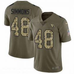 Nike Cardinals 48 Isaiah Simmons Olive Camo Men Stitched NFL Limited 2017 Salute To Service Jersey
