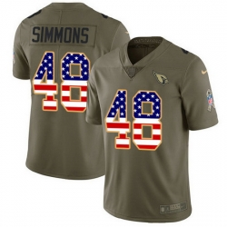 Nike Cardinals 48 Isaiah Simmons Olive USA Flag Men Stitched NFL Limited 2017 Salute To Service Jersey