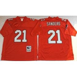 Men Atlanta Falcons 21 Deion Sanders Red M&N Throwback Jersey