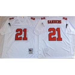 Men Atlanta Falcons 21 Deion Sanders White M&N Throwback Jersey