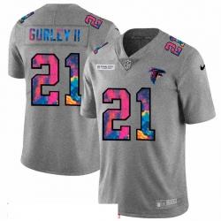 Men Atlanta Falcons 21 Todd Gurley II Men Nike Multi Color 2020 NFL Crucial Catch NFL Jersey Greyheather