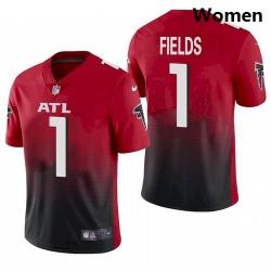 Women Atlanta Falcons #1 Justin Fields Red 2021 Draft Jersey