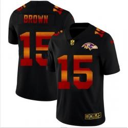 Baltimore Ravens 15 Marquise Brown Men Black Nike Red Orange Stripe Vapor Limited NFL Jersey