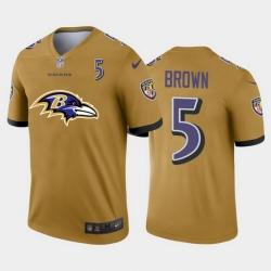 Baltimore Ravens 5 Marquise Brown Gold Men Nike Big Team Logo Player Vapor Limited NFL Jersey