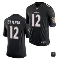 Men Baltimore Ravens #12 Rashod Bateman Black 2021 Vapor Untouchable Limited Stitched NFL Jersey