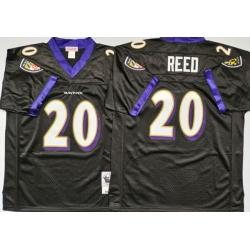 Men Baltimore Ravens 20 Ed Reed Black M&N Throwback Jersey
