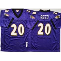 Men Baltimore Ravens 20 Ed Reed Purple M&N Throwback Jersey