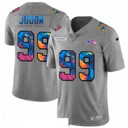 Men Baltimore Ravens 99 Matthew Judon Men Nike Multi Color 2020 NFL Crucial Catch NFL Jersey Greyheather