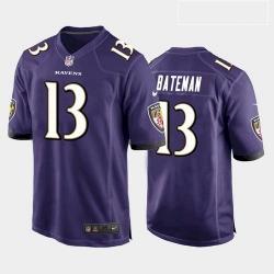 Men Baltimore Ravens Rashod Bateman Purple White Black 2021 Draft Jersey
