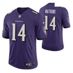 Men Baltimore Ravens Sammy Watkins 14 Purple Vapor Limited Jersey