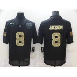 Nike Baltimore Ravens 8 Lamar Jackson Black Camo 2020 Salute To Service Limited Jersey