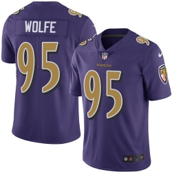 Nike Baltimore Ravens 95 Derek Wolfe Purple Men Stitched NFL Limited Rush Jersey