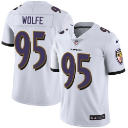 Nike Baltimore Ravens 95 Derek Wolfe White Men Stitched NFL Vapor Untouchable Limited Jersey