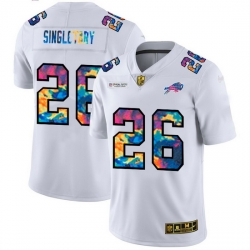 Buffalo Bills 26 Devin Singletary Men White Nike Multi Color 2020 NFL Crucial Catch Limited NFL Jersey