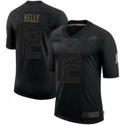 Men Buffalo Bills 12 Jim Kelly Black Limited 2020 Salute To Service Jersey