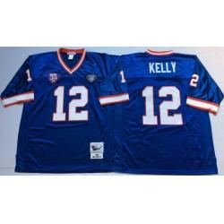 Men Buffalo Bills 12 Jim Kelly Blue M&N Throwback Jersey