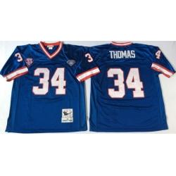 Men Buffalo Bills 34 Thurman Thomas Blue M&N Throwback Jersey