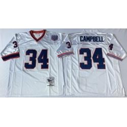 Men Buffalo Bills 34 Thurman Thomas White M&N Throwback Jersey