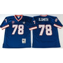 Men Buffalo Bills 78 Bruce Smith Blue M&N Throwback Jersey
