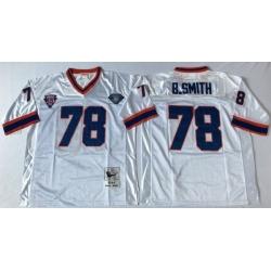 Men Buffalo Bills 78 Bruce Smith White M&N Throwback Jersey