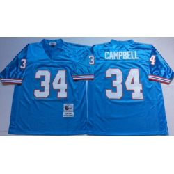 Men Oilers 34 Earl Campbell Blue M&N Throwback Jersey