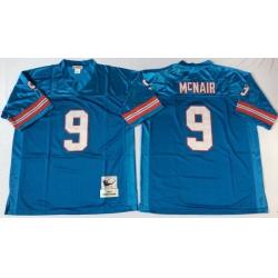 Men Oilers 9 Steve McNair Blue M&N Throwback Jersey