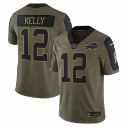 Men's Buffalo Bills Jim Kelly Nike Olive 2021 Salute To Service Retired Player Limited Jersey