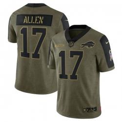 Men's Buffalo Bills Josh Allen Nike Olive 2021 Salute To Service Limited Player Jersey