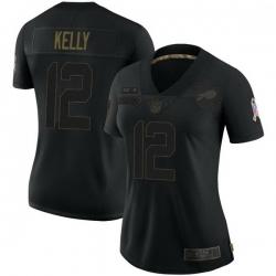 Women Buffalo Bills 12 Jim Kelly Black Limited 2020 Salute To Service Jersey