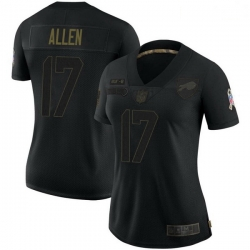Women Buffalo Bills 17 Josh Allen Black Limited 2020 Salute To Service Jersey