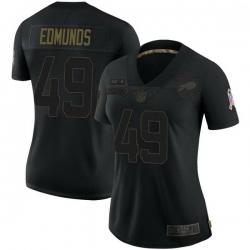 Women Buffalo Bills 49 Tremaine Edmunds Black Limited 2020 Salute To Service Jersey