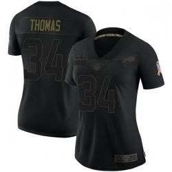 Women Buffalo Bills Thurman Thomas Black Limited 2020 Salute To Service Jersey