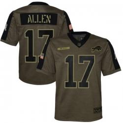 Youth Buffalo Bills Josh Allen Nike Olive 2021 Salute To Service Game Jersey