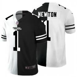 Carolina Panthers 1 Cam Newton Men Black V White Peace Split Nike Vapor Untouchable Limited NFL Jersey