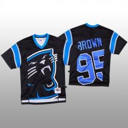NFL Carolina Panthers 95 Derrick Brown Black Men Mitchell  26 Nell Big Face Fashion Limited NFL Jersey