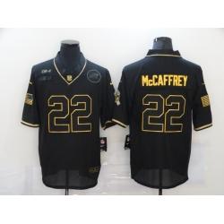 Nike Carolina Panthers 22 Christian McCaffrey Black Gold 2020 Salute To Service Limited Jersey