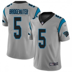 Nike Panthers 5 Teddy Bridgewater Silver Men Stitched NFL Limited Inverted Legend Jersey