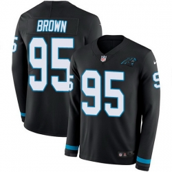 Nike Panthers 95 Derrick Brown Black Team Color Men Stitched NFL Limited Therma Long Sleeve Jersey