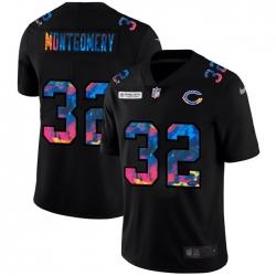 Chicago Bears 32 David Montgomery Men Nike Multi Color Black 2020 NFL Crucial Catch Vapor Untouchable Limited Jersey