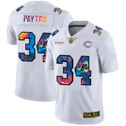 Chicago Bears 34 Walter Payton Men White Nike Multi Color 2020 NFL Crucial Catch Limited NFL Jersey