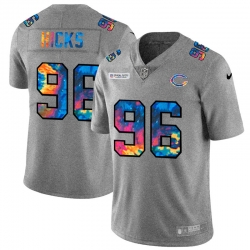 Chicago Bears 96 Akiem Hicks Men Nike Multi Color 2020 NFL Crucial Catch NFL Jersey Greyheather