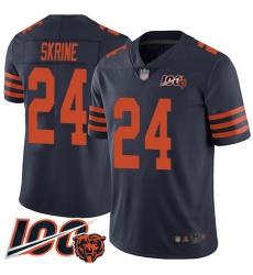 Men Chicago Bears 24 Buster Skrine Limited Navy Blue Rush Vapor Untouchable 100th Season Football Jersey