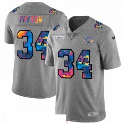 Men Chicago Bears 34 Walter Payton Men Nike Multi Color 2020 NFL Crucial Catch NFL Jersey Greyheather