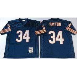 Men Chicago Bears 34 Walter Payton Navy M&N 1985 Throwback Jersey