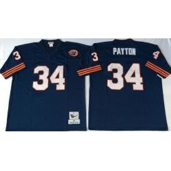 Men Chicago Bears 34 Walter Payton Navy M&N Throwback Jersey