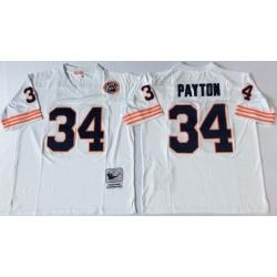 Men Chicago Bears 34 Walter Payton White M&N Throwback Jersey