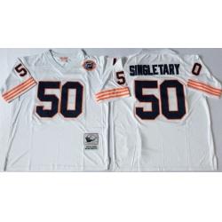 Men Chicago Bears 50 Mike Singletary White M&N Throwback Jersey