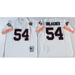 Men Chicago Bears 54 Brian Urlacher White M&N Throwback Jersey
