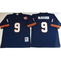 Men Chicago Bears 9 Jim McMahon Navy 1985 M&N Throwback Jersey